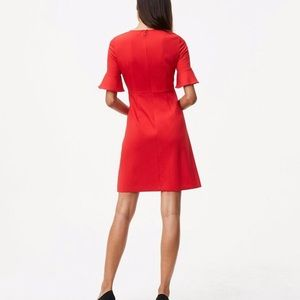 Loft Ann Taylor red dress flutter sleeves, size 2